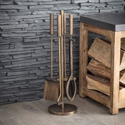 Solden Fireside tool set, H52 x D15 x W15cm, antique brass finish