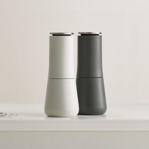 Milltop Salt and pepper set, H7 x W3.2 x D3.2cm, Grey & White