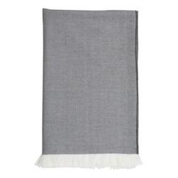 Herringbone Merino bed throw, 230 x 150cm, flint/white