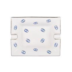 Eye Trinket tray, L20 x W16 x H3.6cm, White And Blue