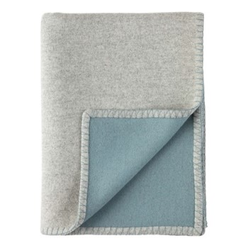Blanket Stitched Reversible woven blended throw, 190 x 140cm, silver & duck egg