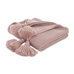 Tassle Knit Throw, 127 x 152cm, blush