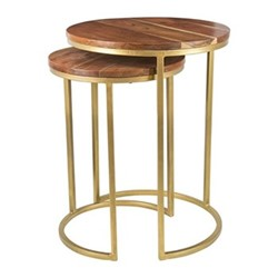 Pair of round nesting side tables, H59 x W43 x L43cm, wood