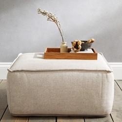 Luxury square pouffe, linen, H35 x W70 x L70cm, nat linen union