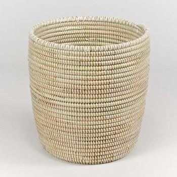 Handwoven waste paper basket, 28 x 26cm, natural