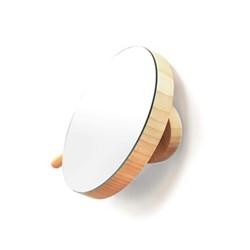 Slimline Magnifying wall mirror, Dia18cm, honey bamboo