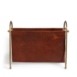 Meard Magazine rack, Brass/Leather