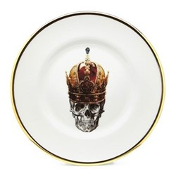 Skull in Red Crown Salad plate, 23cm, crisp white/burnished gold edge