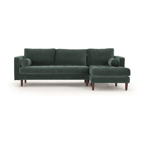 Scott 4 seater right hand facing corner sofa, H84 x W259 x D100/171cm, Petrol Cotton Velvet