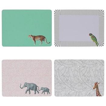 Animal Set of 4 placemats, H28.9 x W21.4cm