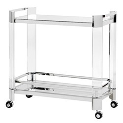 Bar cart, H81 x W81.5 x D42.5cm, clear