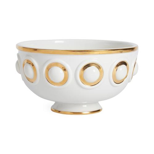 Futura Centerpiece bowl, Dia24.13 x H13.34 cm, White/Metallic Gold