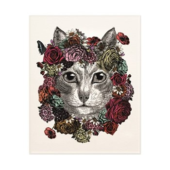 Flower Cat Art print, H50 x W40cm, multi