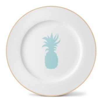 Pineapple Dinner plate, 26cm, hand-painted gold rim