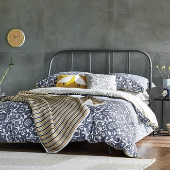 Kukkia Double duvet cover, L200 x W200cm, ink and charcoal