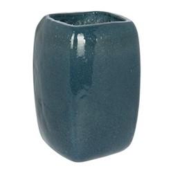 Bubbled Glass Vase, 17 x 17 x 23cm, indigo blue