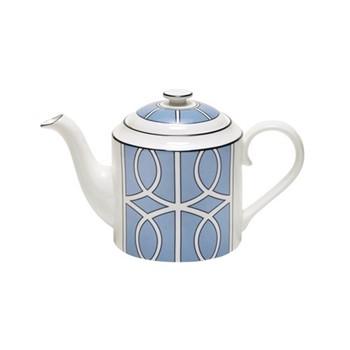 Loop Teapot, H13cm, cornflower blue/white