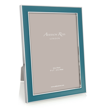 "Enamel Range Photograph frame, 5 x 7"" with 15mm border, teal with silver plate"
