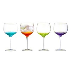 Fizz Set of 4 gin glasses, W15 x H22cm, multi coloured