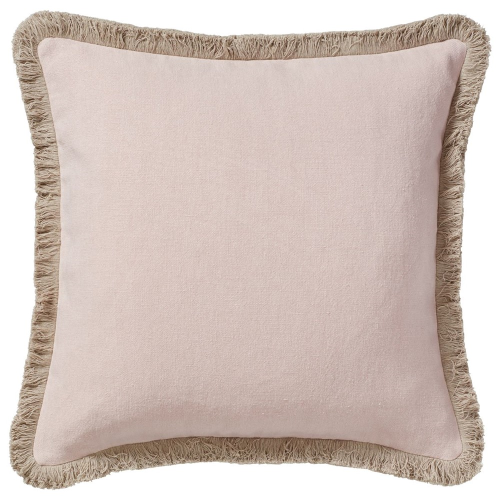 Cushion cover with fringing, L51 x W51cm, Dusty Rose Stonewashed Linen