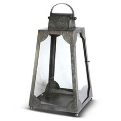 Trapezium Small lantern, H55 x L25 x D25cm, galvanised steel