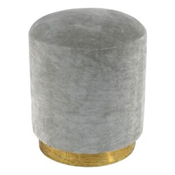 Small footstool, H45 x D40cm, silver grey velvet with brass base