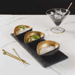 Deluxe gold mezze set, 35 x 12cm, Slate And Stainless Steel