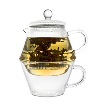 Portofino Single walled teapot and glass, 400 ml, clear