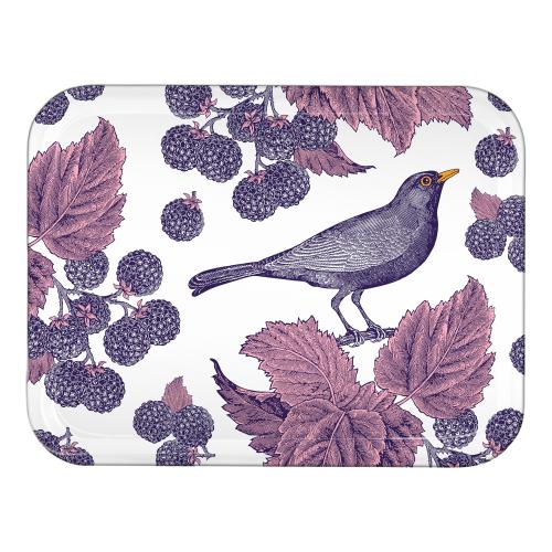 Blackbird & Bramble Small tray, 27 x 20cm, Birch Veneer/Purple/Pink