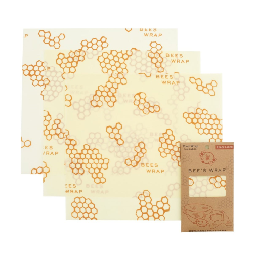 Bee's Wrap Print Pack of 3 large food wraps, 33 x 36cm
