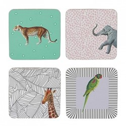 Animal Set of 4 coasters, H9 x W9cm