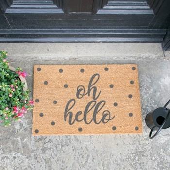 Oh Hello Doormat  , L60 x W40 x H1.5cm, grey