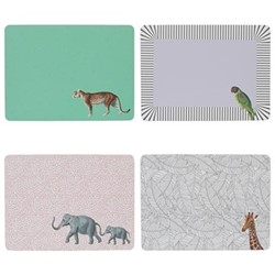 Animal Set of 4 placemats, H28.9 x W21.4cm