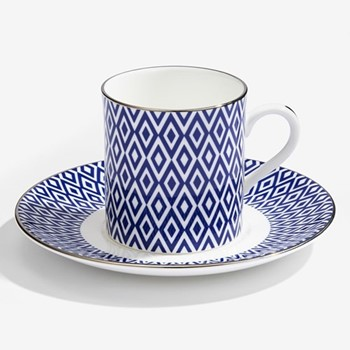Aragon Coffee cup & saucer, midnight blue & white