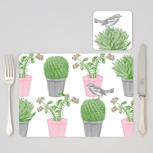 Cactus & Bird Set of 4 placemats, 29 x 21cm