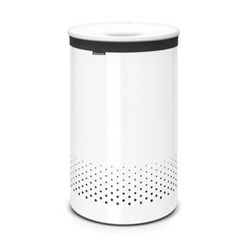 Laundry bin, 60 litre, white body / white plastic lid