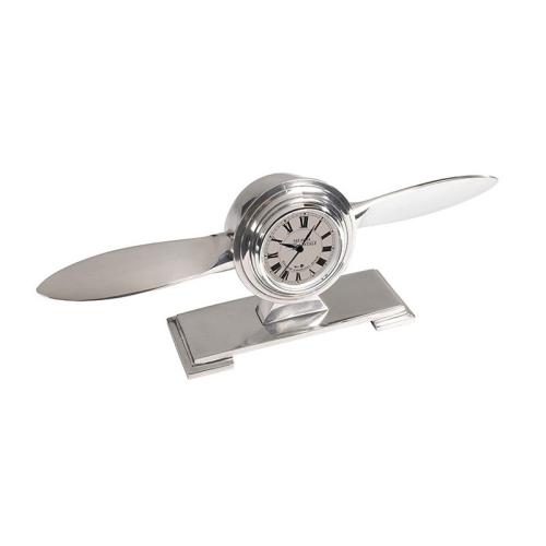 Propeller Clock, H9.5 x W30.5 x L5.5cm, Polished Aluminium