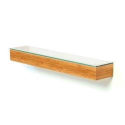 Slimline Wall shelf, H5 x W55 x D9.5cm, bamboo/glass