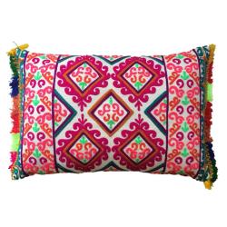Fiesta Embroidered cushion, L60 x W40cm, Multicolour
