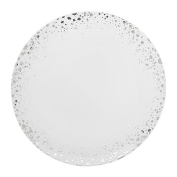 Quartz Dinner plate, 28cm, white and silver