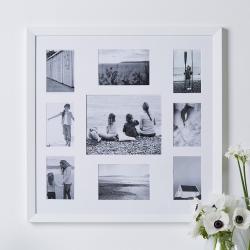 Fine Wood Photograph frame - multi aperture, 62 x 62cm, White
