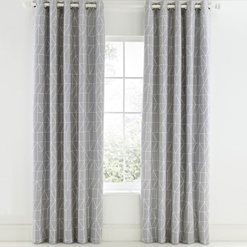 Nuevo Curtains, L183 x W168cm, blush and charcoal