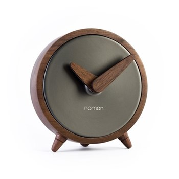 Átomo Table clock, D10cm, graphite/walnut