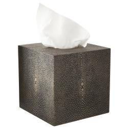 Faux Shagreen Tissue box holder, 14 x 14cm, Mole Brown