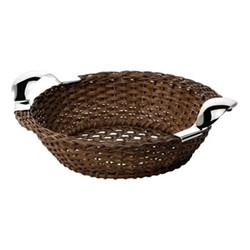 Bread basket, W27cm, dark brown and sterling silver