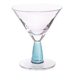 Gin Connoisseur Pair of martini glasses, H14cm - 18.5cl, clear/blue