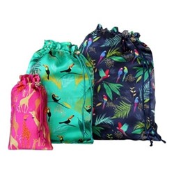 Tropical Set of 3 travel bags, small, medium and large, blue