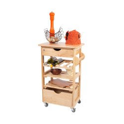 Kitchen Compact Trolley, 54 x 38 x 84.5cm, Natural Hevea