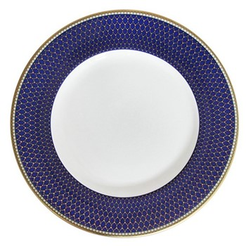 Antler Trellis Plate, 20.3cm, midnight blue and gold