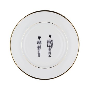 Models Dinner plate, 27cm, crisp white/burnished gold edge